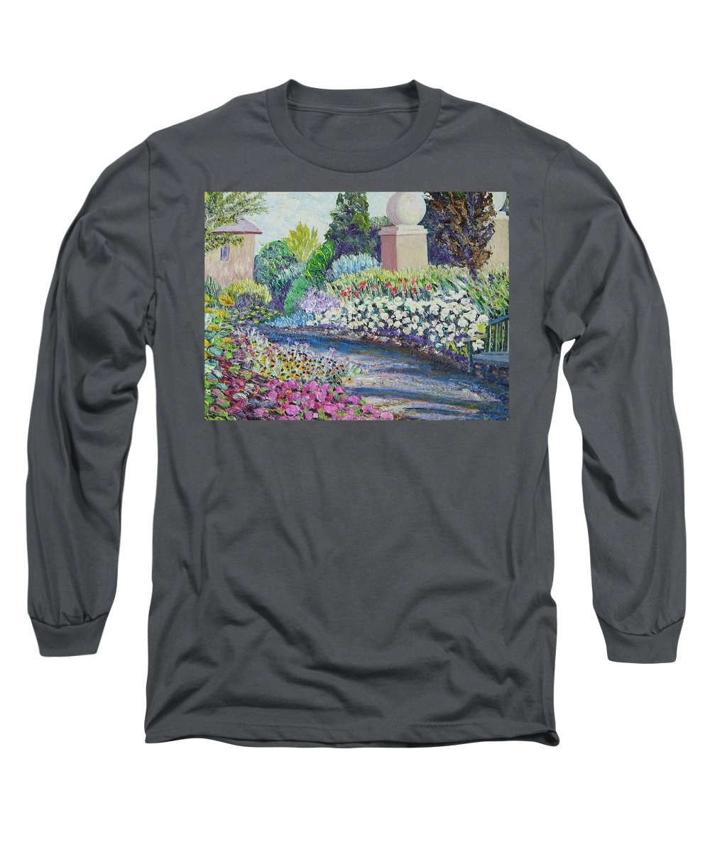 Flowers Long Sleeve T-Shirt featuring the painting Amelia Park Pathway by Richard Nowak