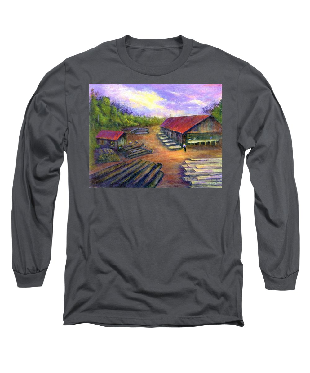 Amish Long Sleeve T-Shirt featuring the painting Amish Lumbermill by Gail Kirtz