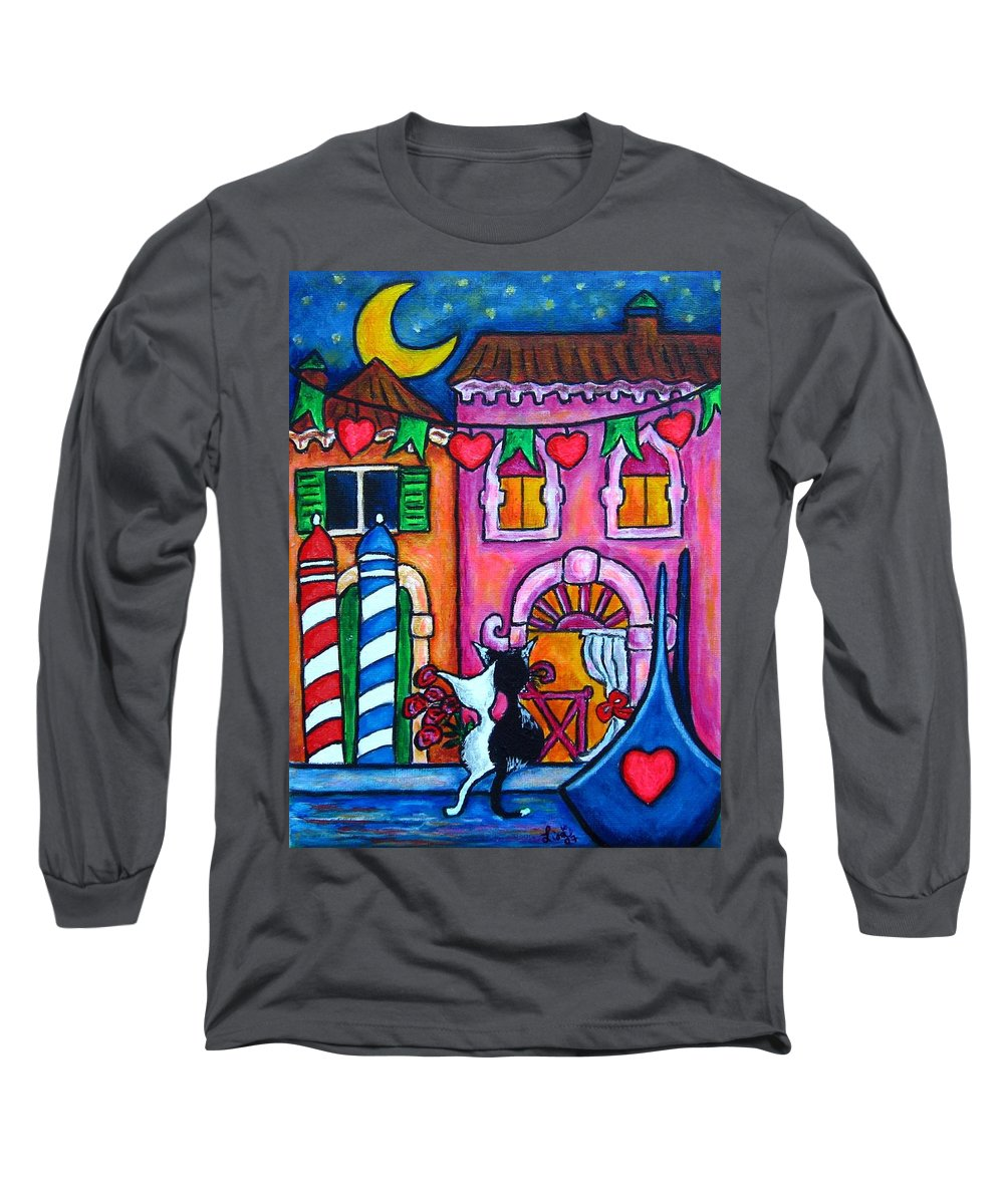 Cats Long Sleeve T-Shirt featuring the painting Amore In Venice by Lisa Lorenz