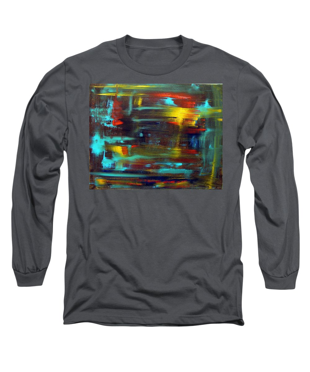 Red Blue Yellow Gold Brown Cad Orange Eyes Obama Oscar  Face Thought Emotions Long Sleeve T-Shirt featuring the painting An Abstract Thought by Jack Diamond