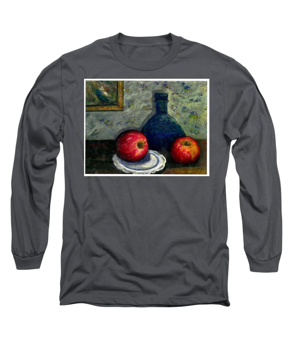 Still Life Long Sleeve T-Shirt featuring the painting Apples And Bottles by Gail Kirtz