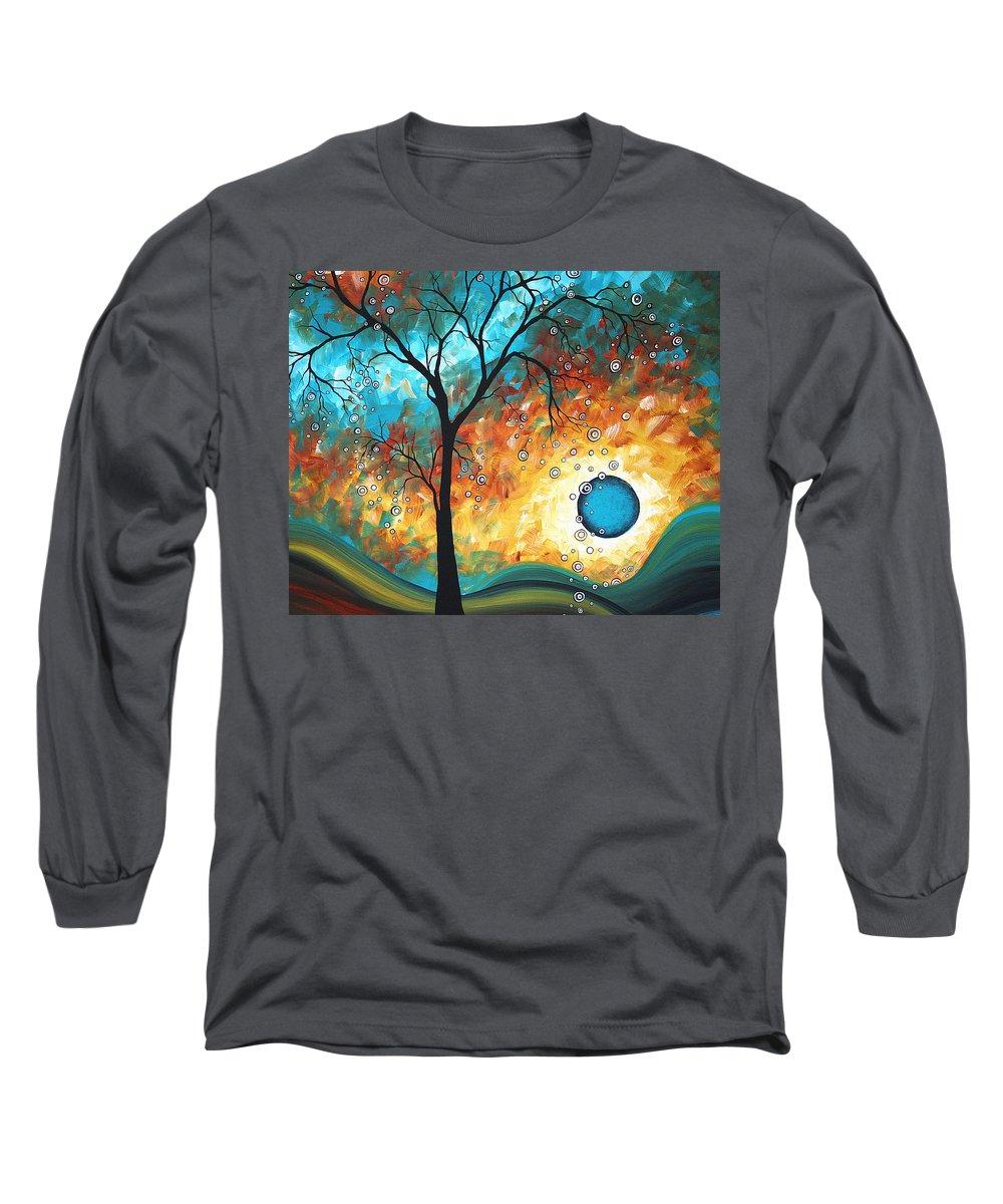 Art Long Sleeve T-Shirt featuring the painting Aqua Burn By Madart by Megan Duncanson