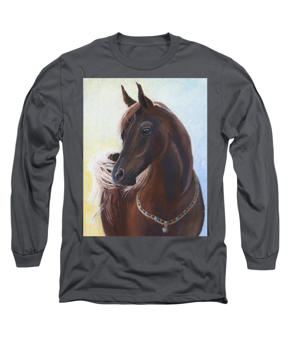 Horse Long Sleeve T-Shirt featuring the painting Arabian Prince by Heather Coen