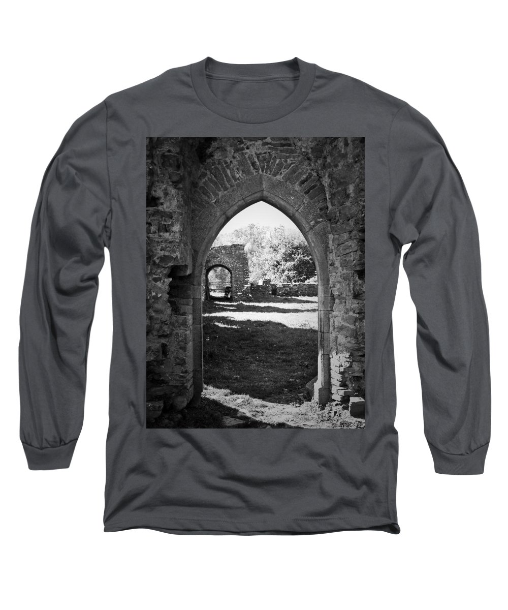 Irish Long Sleeve T-Shirt featuring the photograph Arched Door At Ballybeg Priory In Buttevant Ireland by Teresa Mucha