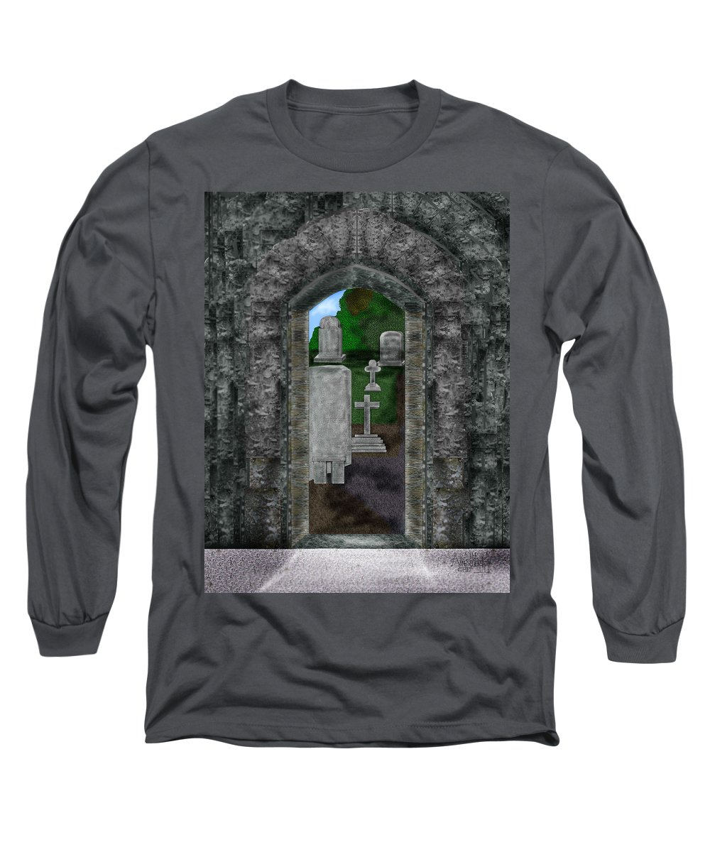 Digital Landscape Long Sleeve T-Shirt featuring the painting Arches And Cross In Ireland by Anne Norskog