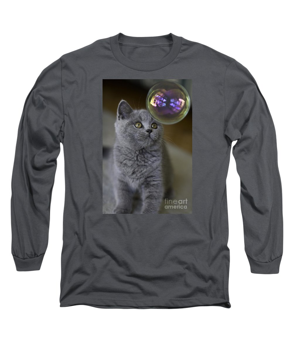 Cat Long Sleeve T-Shirt featuring the photograph Archie With Bubble by Sheila Smart Fine Art Photography