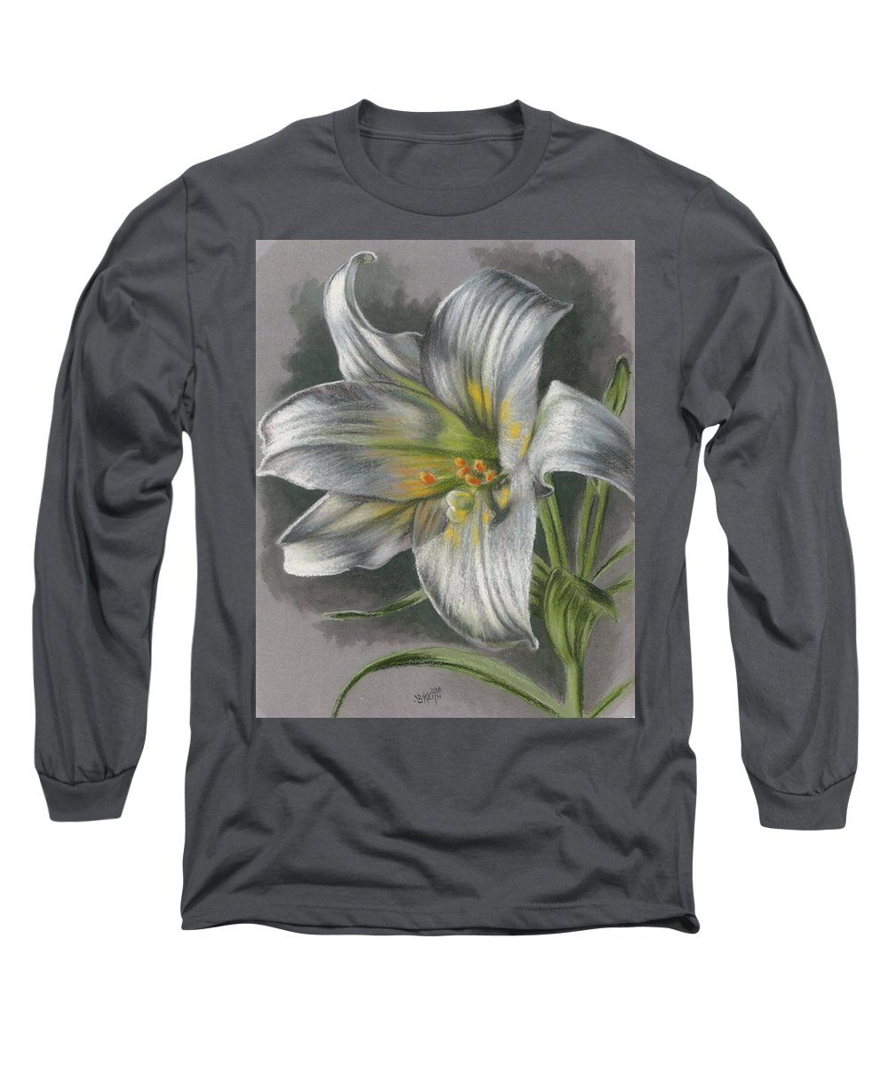Easter Lily Long Sleeve T-Shirt featuring the mixed media Arise by Barbara Keith
