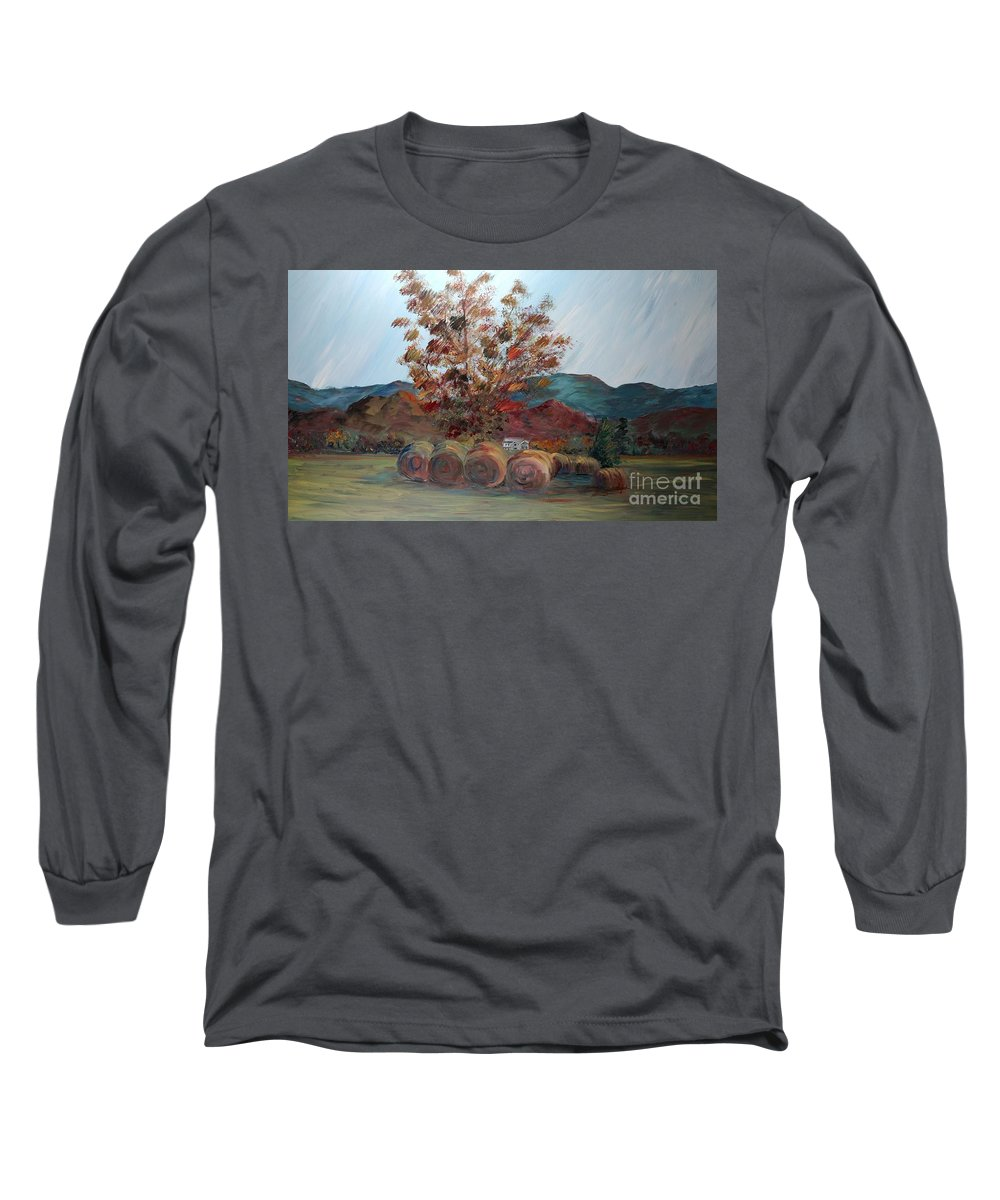 Autumn Long Sleeve T-Shirt featuring the painting Arkansas Autumn by Nadine Rippelmeyer