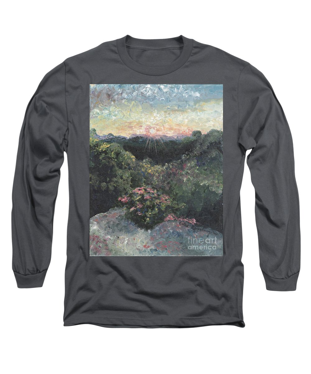 Landscape Long Sleeve T-Shirt featuring the painting Arkansas Mountain Sunset by Nadine Rippelmeyer