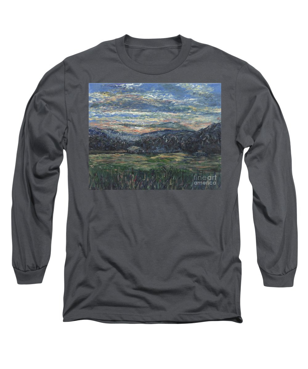 Impressionism Long Sleeve T-Shirt featuring the painting Arkansas Sunrise by Nadine Rippelmeyer