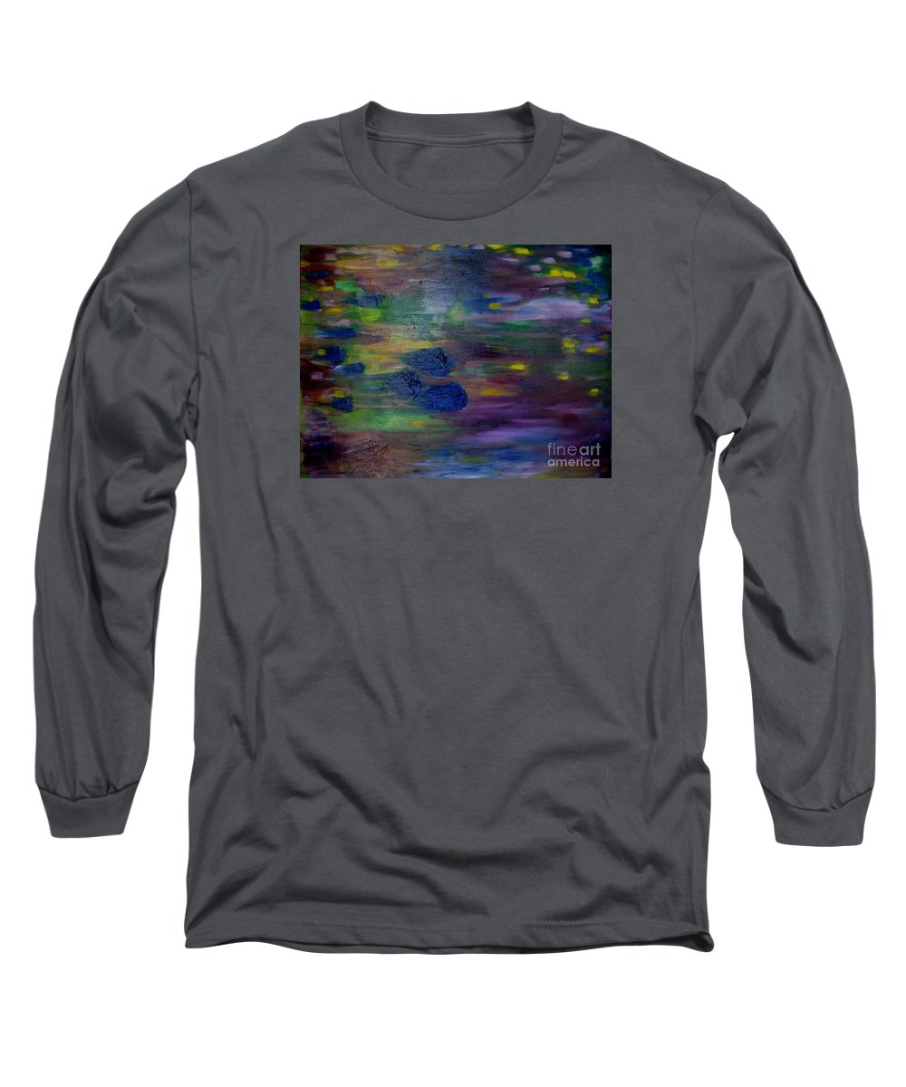 Abstract Long Sleeve T-Shirt featuring the painting Around The Worlds by Laurie Morgan
