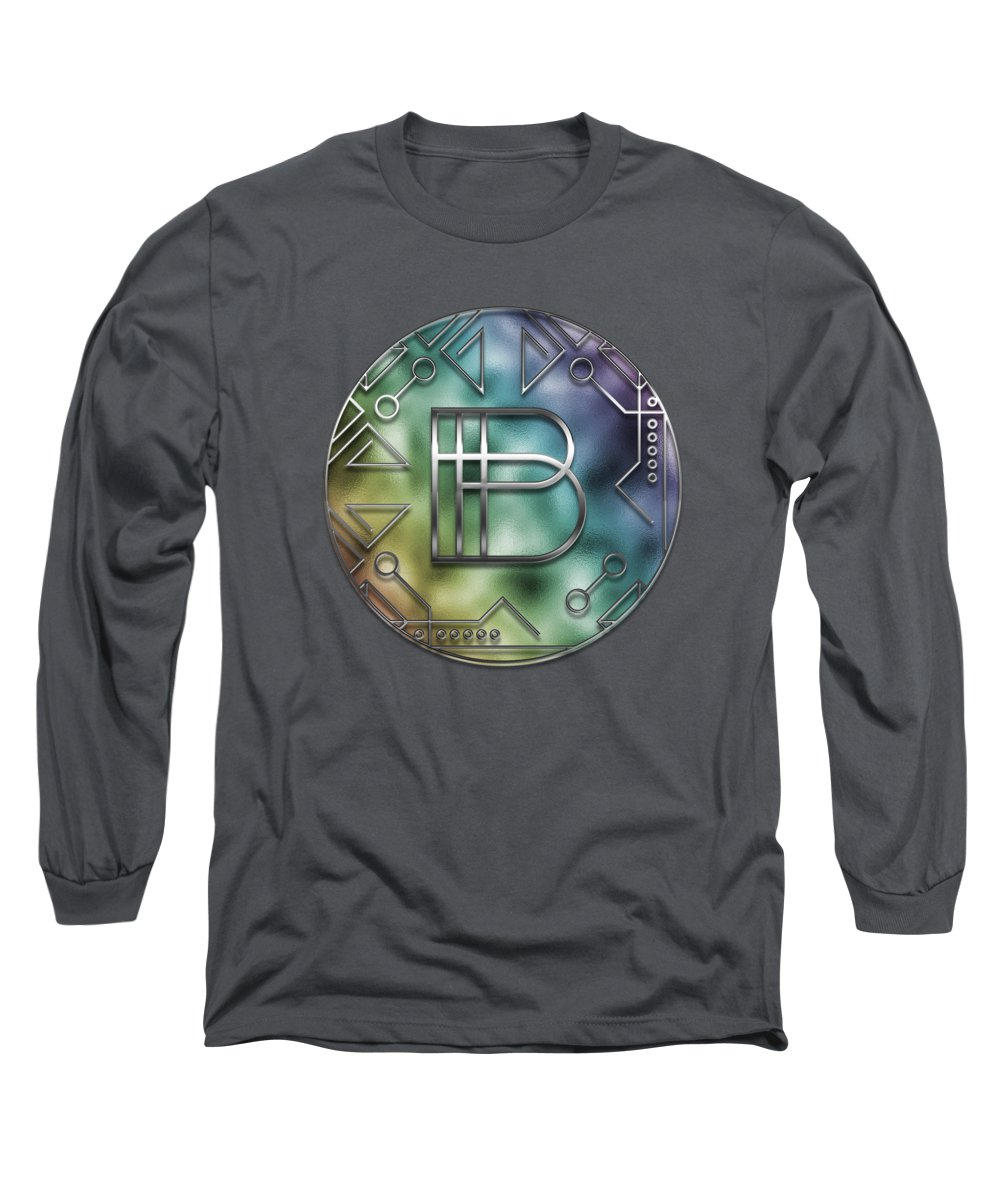 Letter Long Sleeve T-Shirt featuring the digital art Art Deco - B by Mary Machare