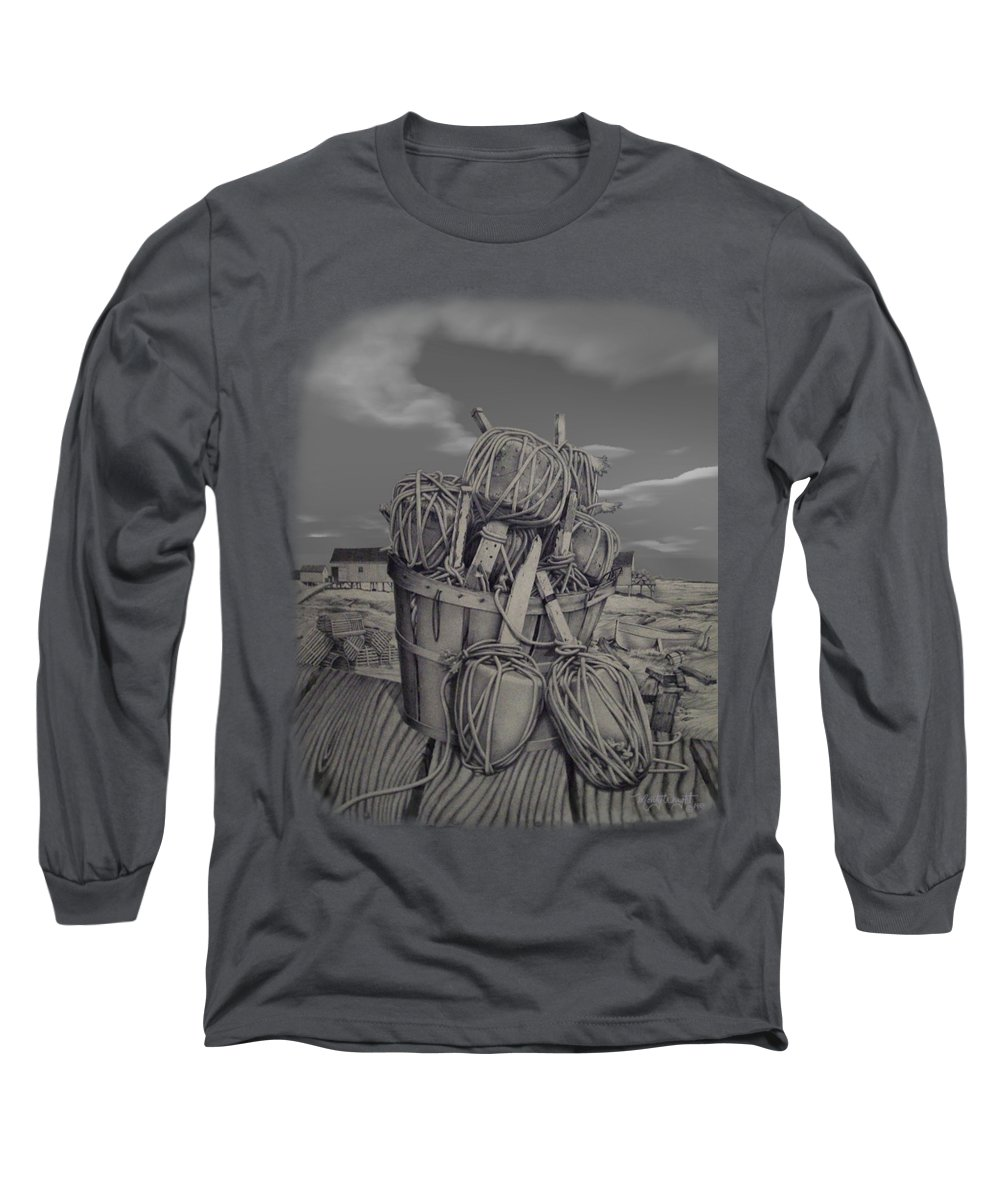 Monty Wright Long Sleeve T-Shirt featuring the drawing Harborside by Monty Wright