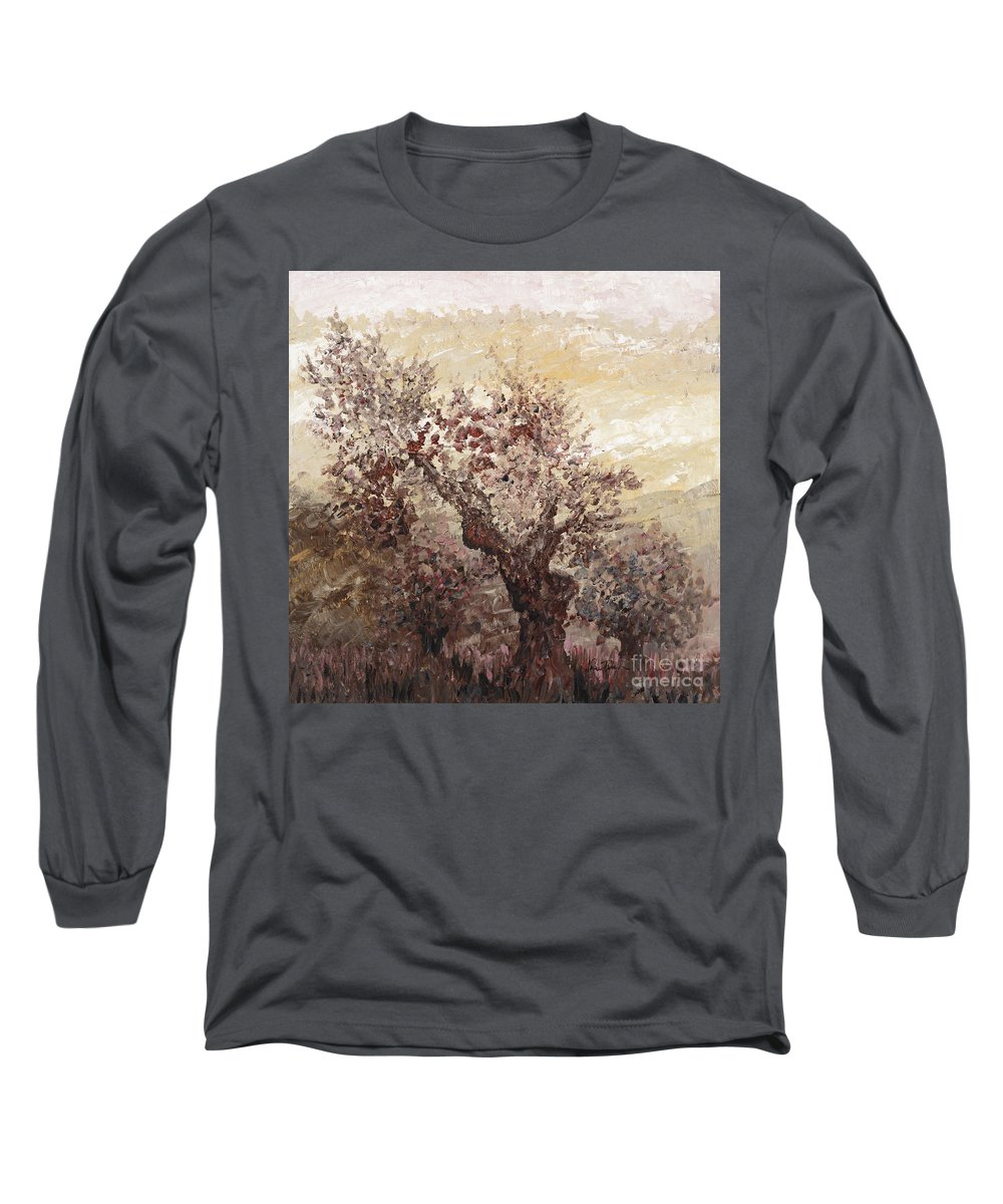 Landscape Long Sleeve T-Shirt featuring the painting Asian Mist by Nadine Rippelmeyer