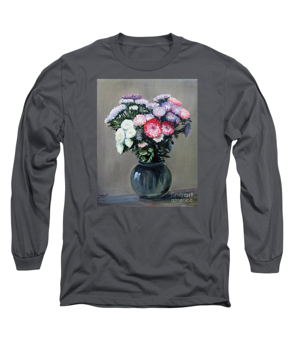 Flowers Long Sleeve T-Shirt featuring the painting Asters by Paul Walsh