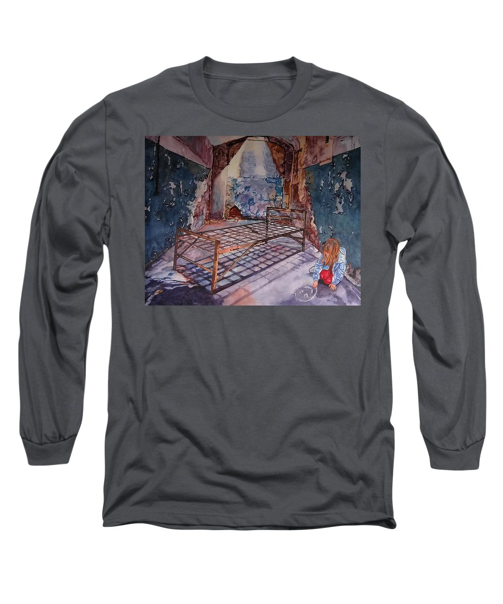 Social Commentary Long Sleeve T-Shirt featuring the painting Attitude by Valerie Patterson