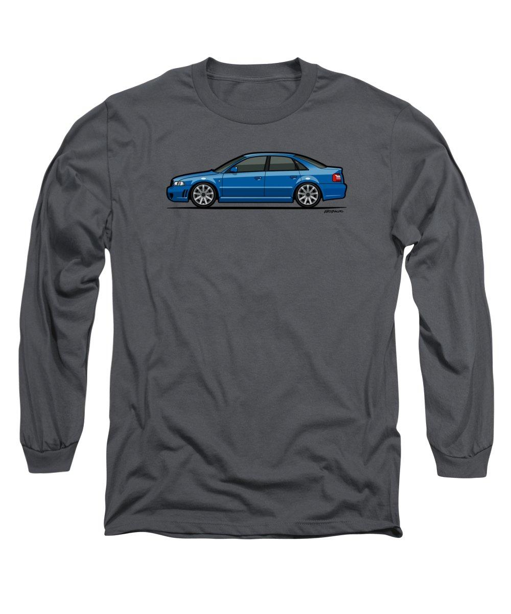 Car Long Sleeve T-Shirt featuring the digital art Audi A4 S4 Quattro B5 Type 8d Sedan Nogaro Blue by Monkey Crisis On Mars