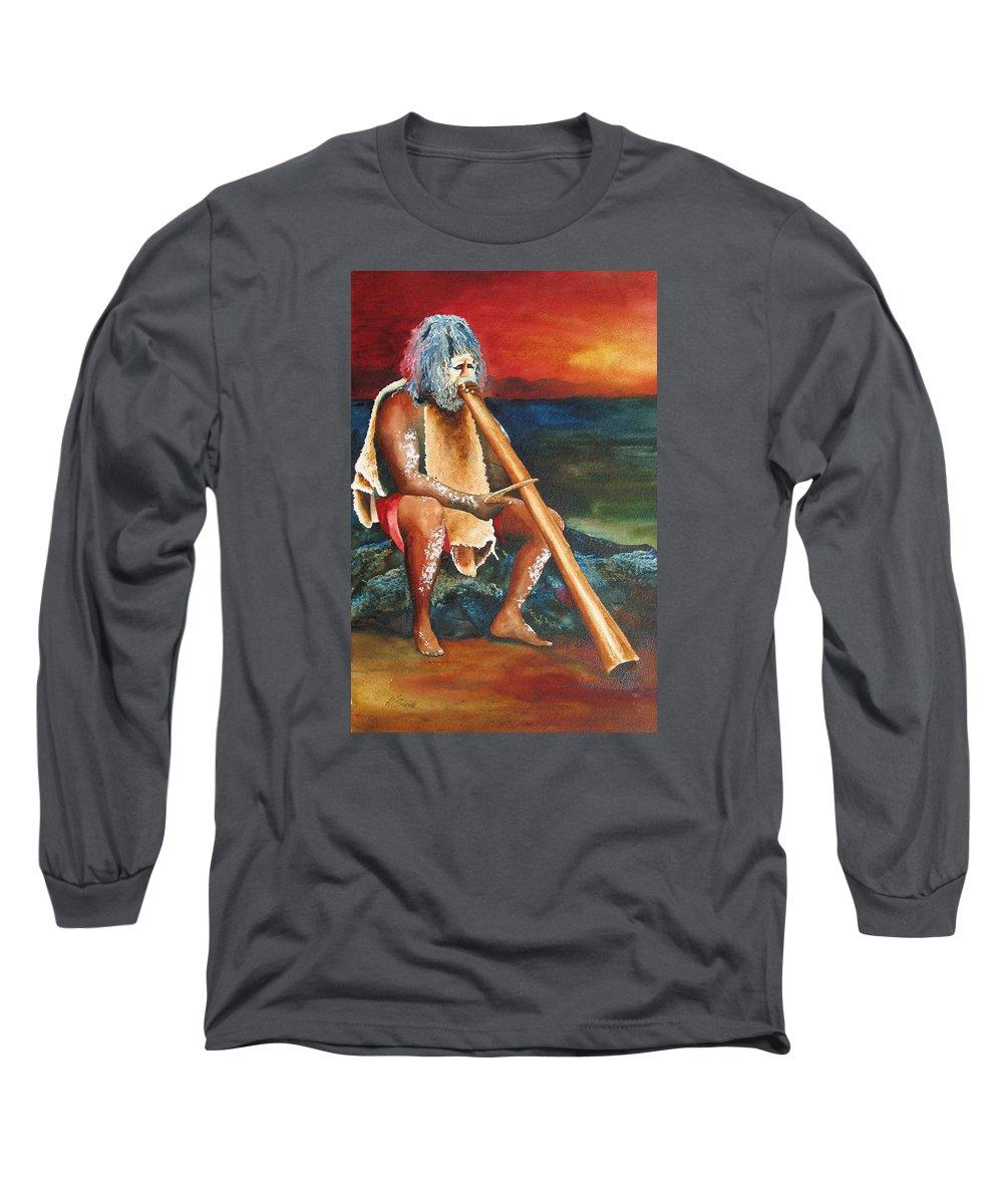 Australian Long Sleeve T-Shirt featuring the painting Australian Solo by Karen Stark