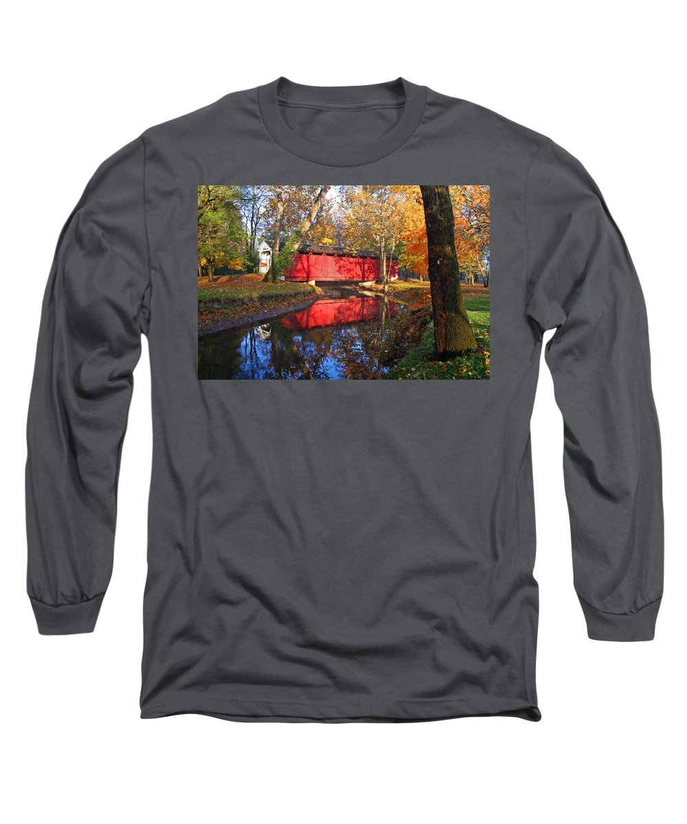 Covered Bridge Long Sleeve T-Shirt featuring the photograph Autumn Sunrise Bridge II by Margie Wildblood