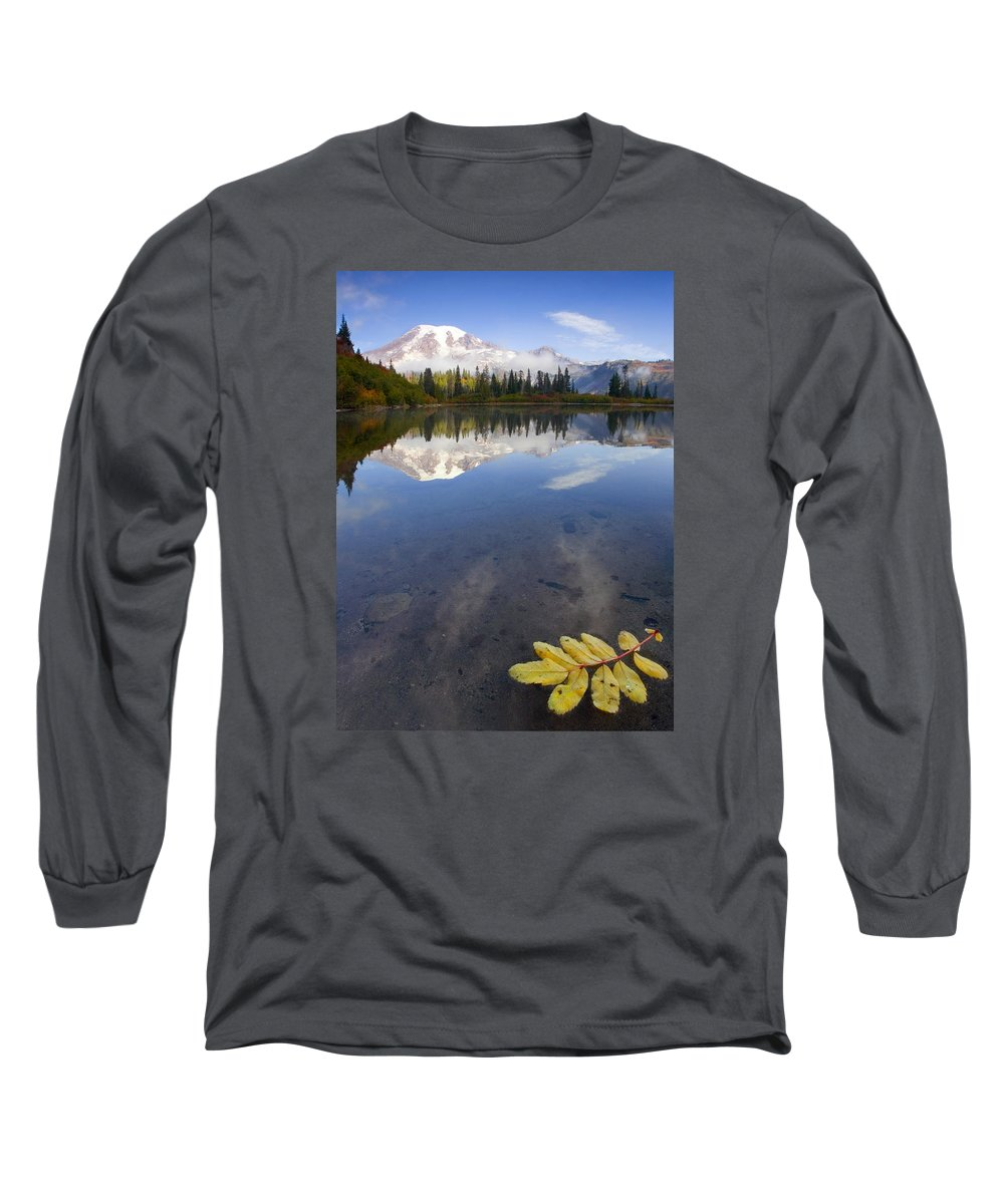 Rainier Long Sleeve T-Shirt featuring the photograph Autumn Suspended by Mike Dawson