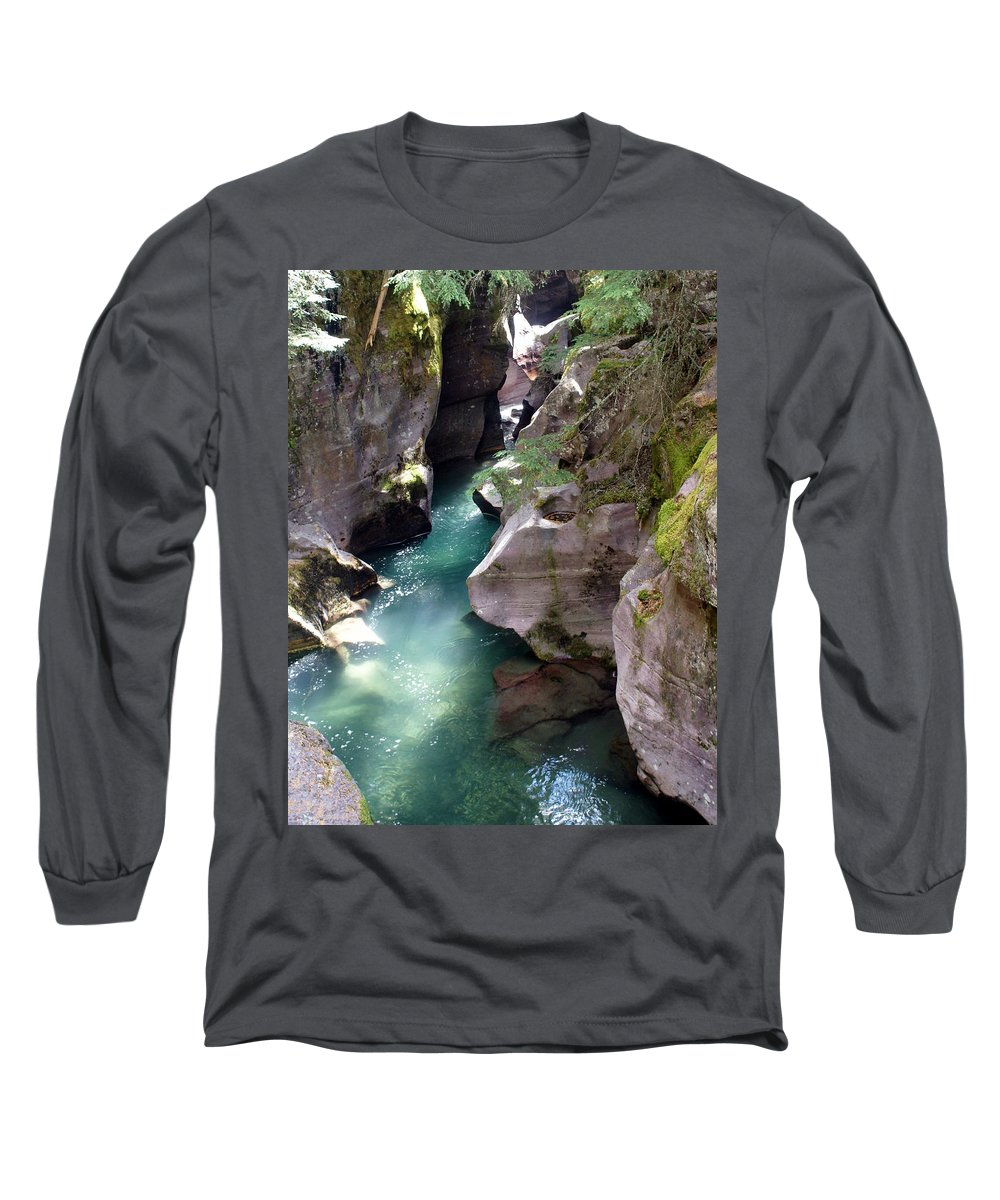 Glacier National Park Long Sleeve T-Shirt featuring the photograph Avalanche Creek Glacier National Park by Marty Koch