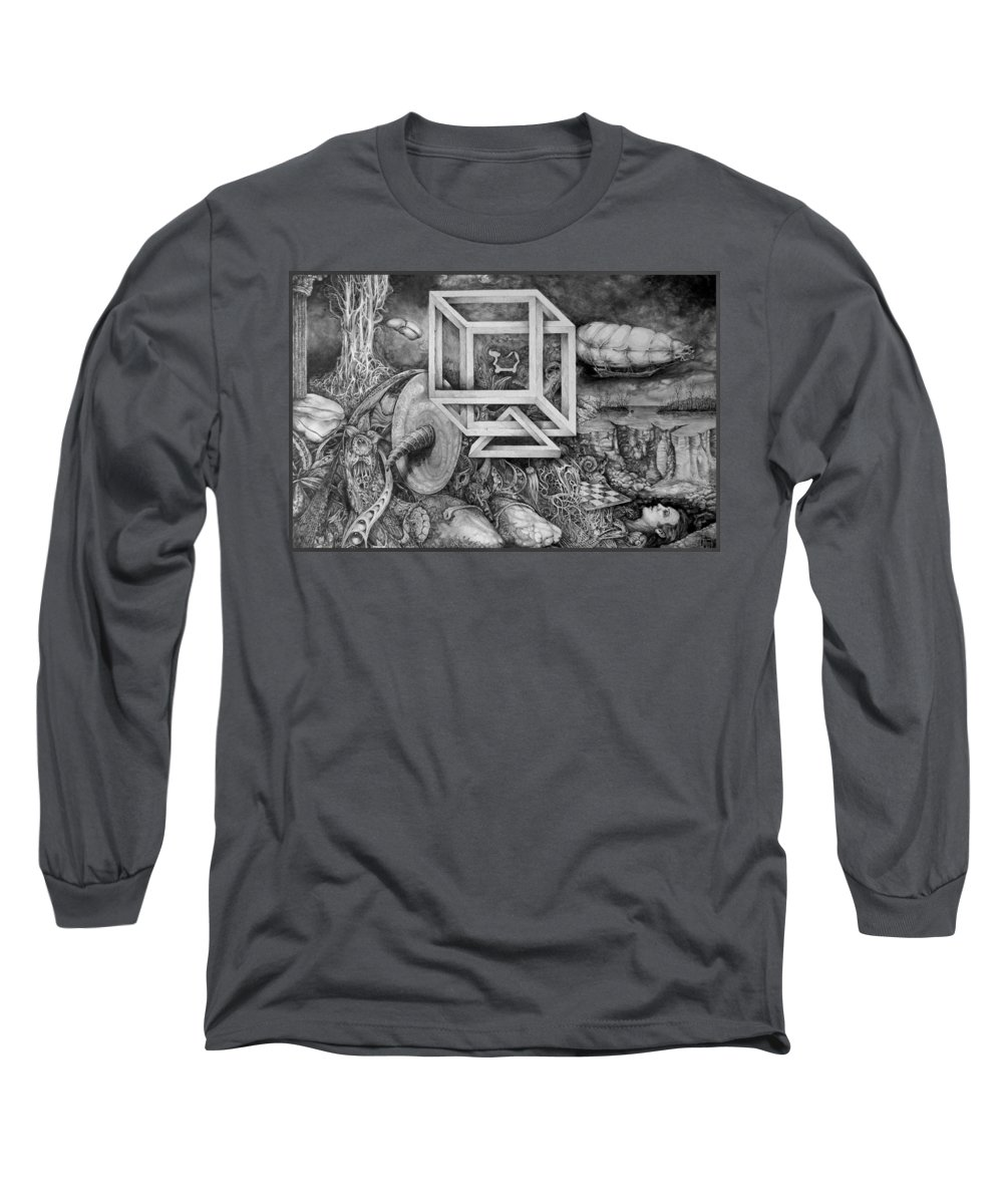 Drawing Long Sleeve T-Shirt featuring the drawing Axis Mundi by Otto Rapp