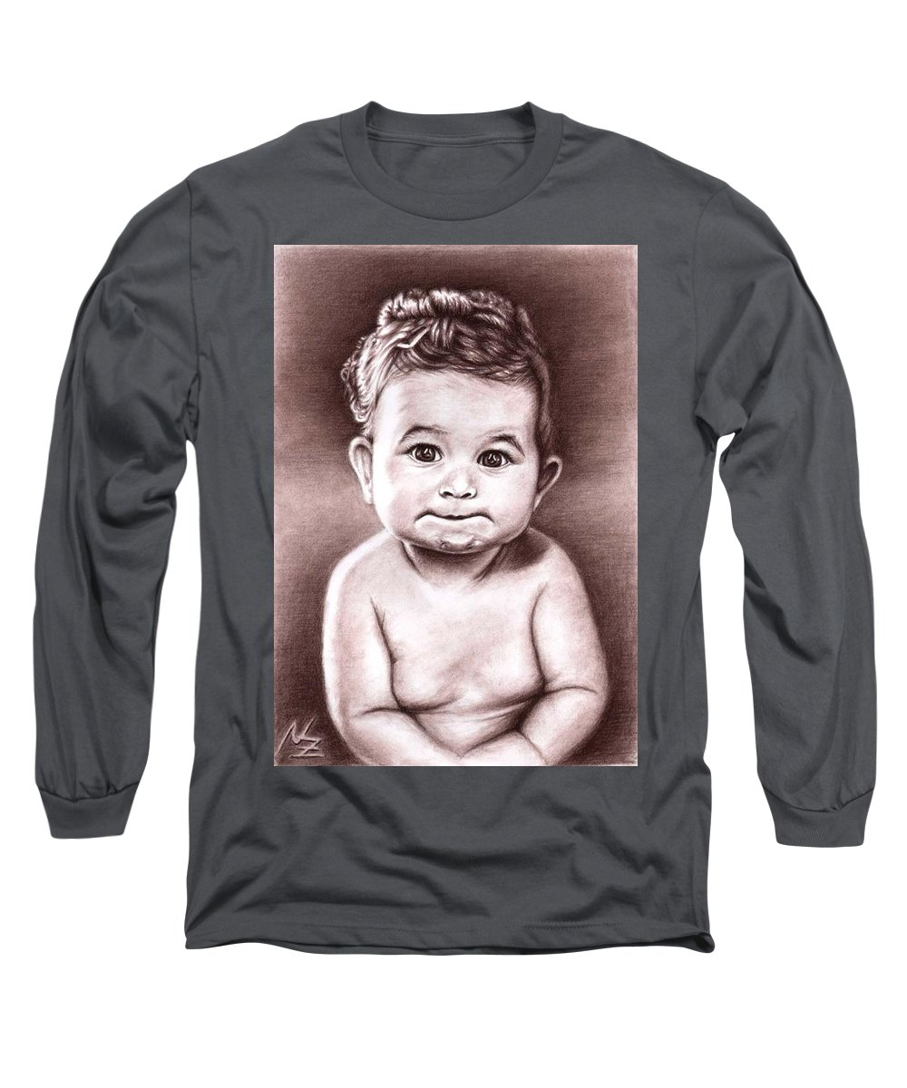 Baby Child Kind Enfant Face Sepia Charcoal Portrait Realism Long Sleeve T-Shirt featuring the drawing Babyface by Nicole Zeug