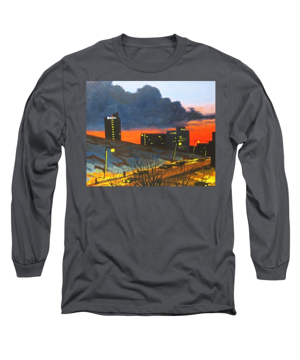Sunset Long Sleeve T-Shirt featuring the painting Balcony View 2 by John Malone