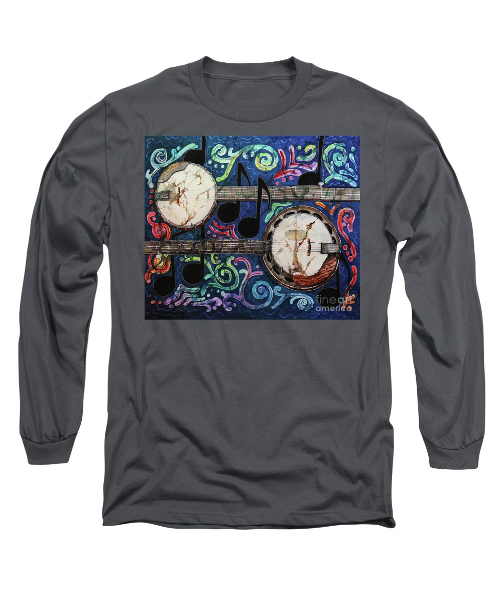 Banjos Long Sleeve T-Shirt featuring the painting Banjos by Sue Duda