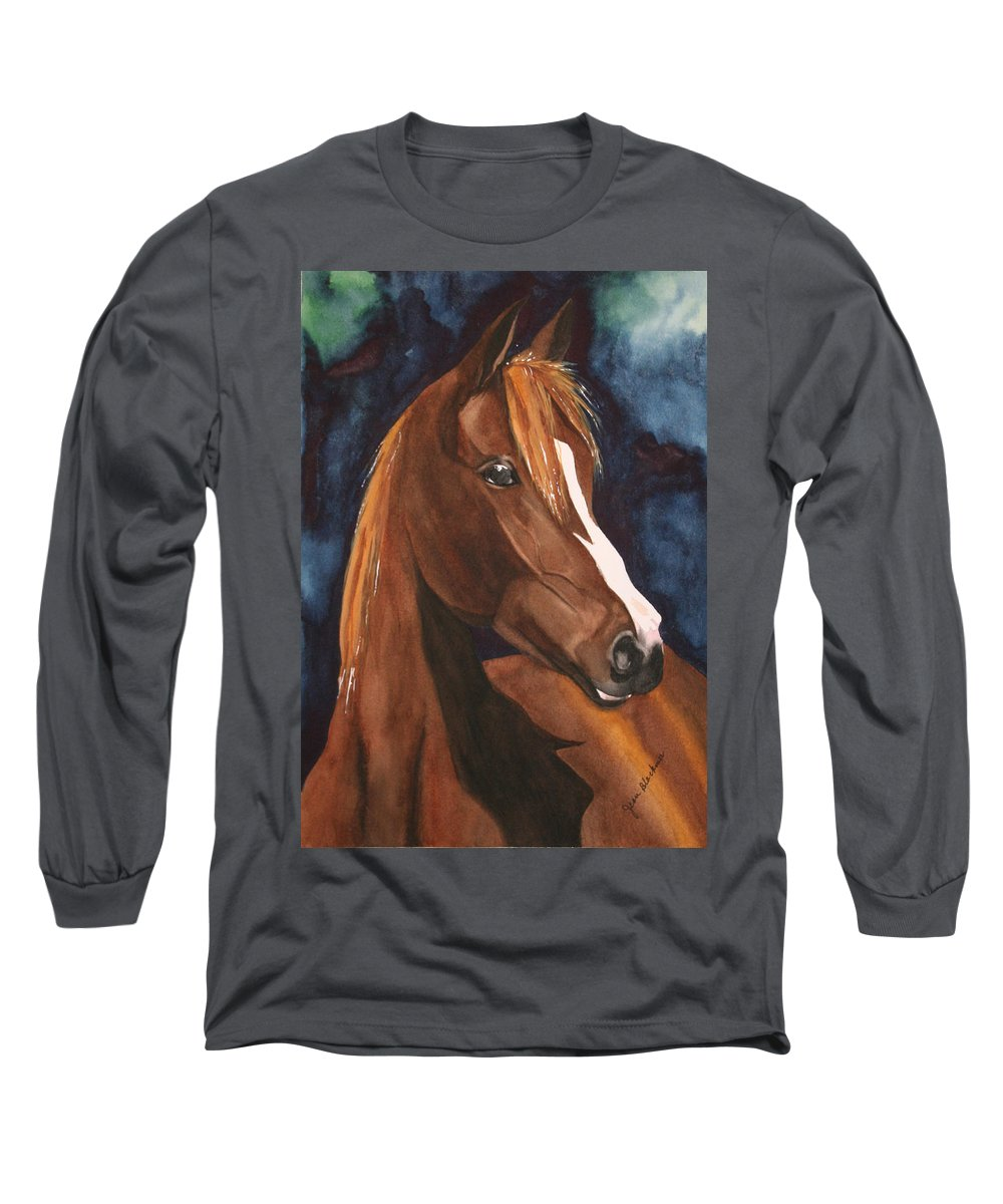 Horse Long Sleeve T-Shirt featuring the painting Bay On Blue 2 by Jean Blackmer