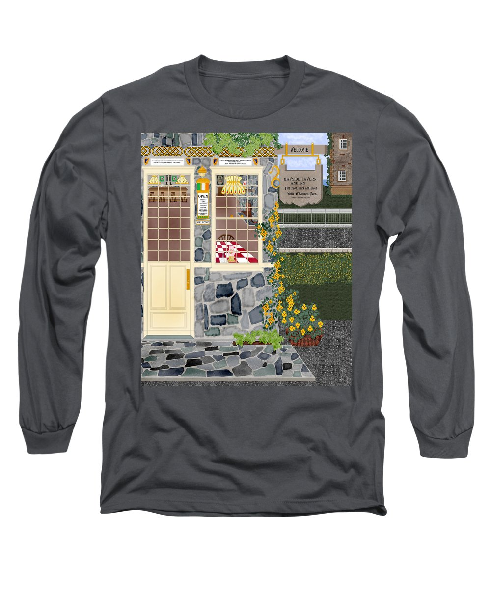 Quaint Inn Long Sleeve T-Shirt featuring the painting Bayside Inn And Tavern In Ireland by Anne Norskog