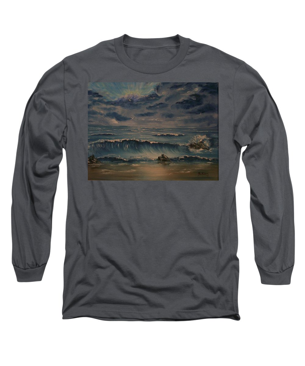 Water Long Sleeve T-Shirt featuring the painting Beach Scene by Stephen King