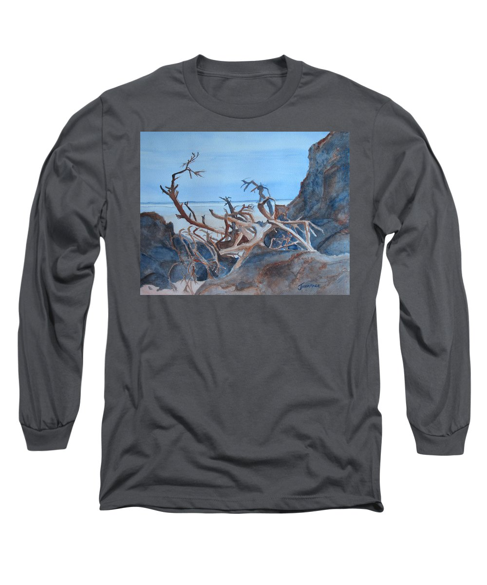 Seascapes Long Sleeve T-Shirt featuring the painting Beach Tangle by Jenny Armitage