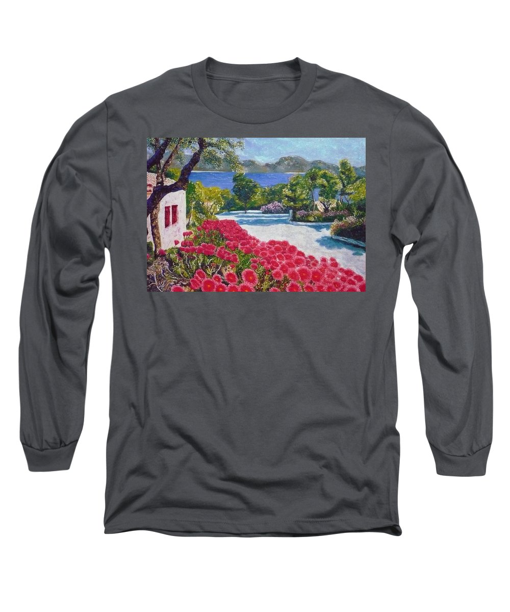 Landscape Long Sleeve T-Shirt featuring the painting Beach With Flowers by Ericka Herazo