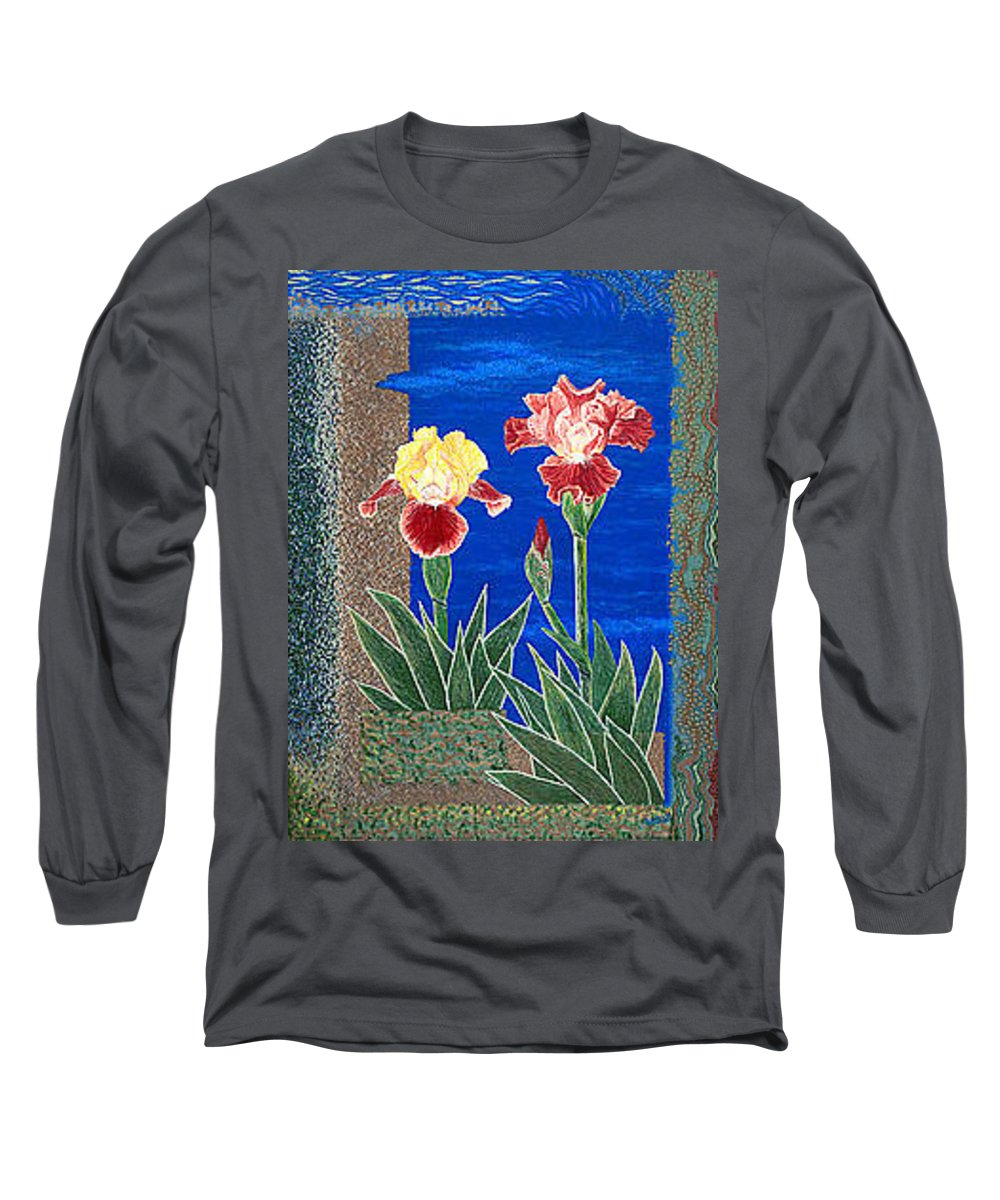 Irises Long Sleeve T-Shirt featuring the painting Bearded Irises Cheerful Fine Art Print Giclee High Quality Exceptional Color by Baslee Troutman