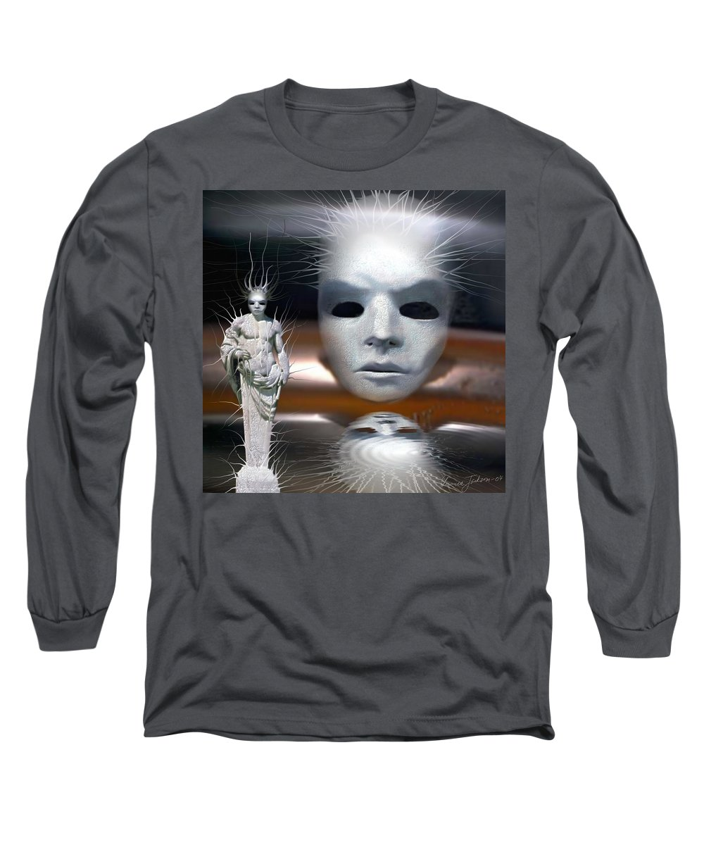 Digital Beauty Eyes Water Long Sleeve T-Shirt featuring the digital art Beauty Is Invisible To The Eye. by Veronica Jackson