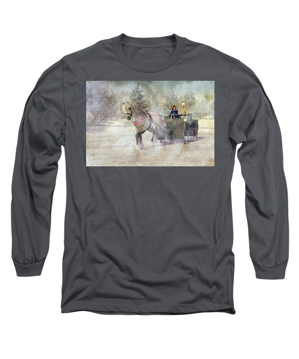 Winter Long Sleeve T-Shirt featuring the digital art Because I Could Not Stop For Death by Betsy Knapp