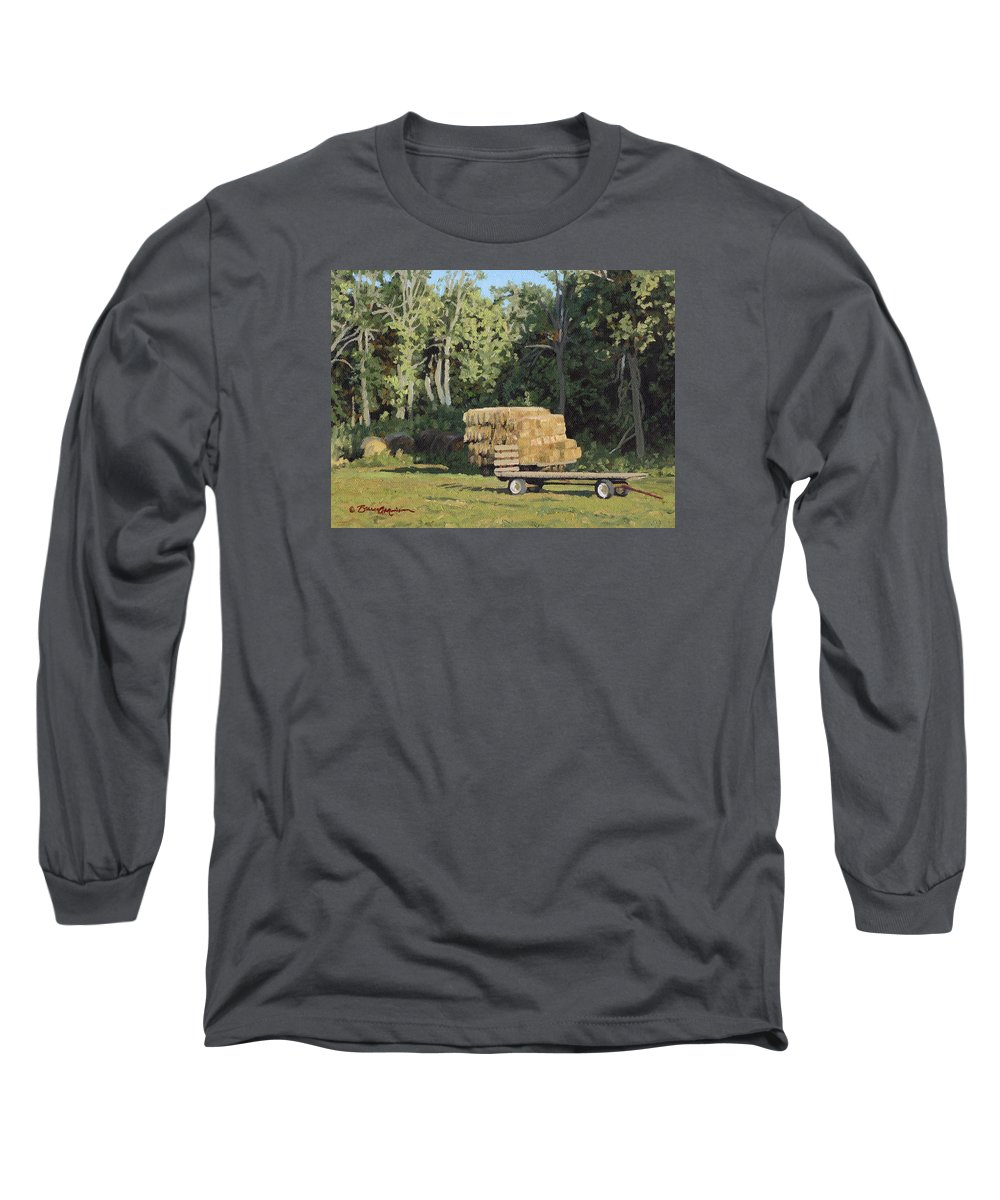 Landscape Long Sleeve T-Shirt featuring the painting Behind The Grove by Bruce Morrison