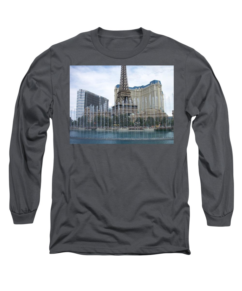 Bellagio Fountain Long Sleeve T-Shirt featuring the photograph Bellagio Fountain 1 by Anita Burgermeister