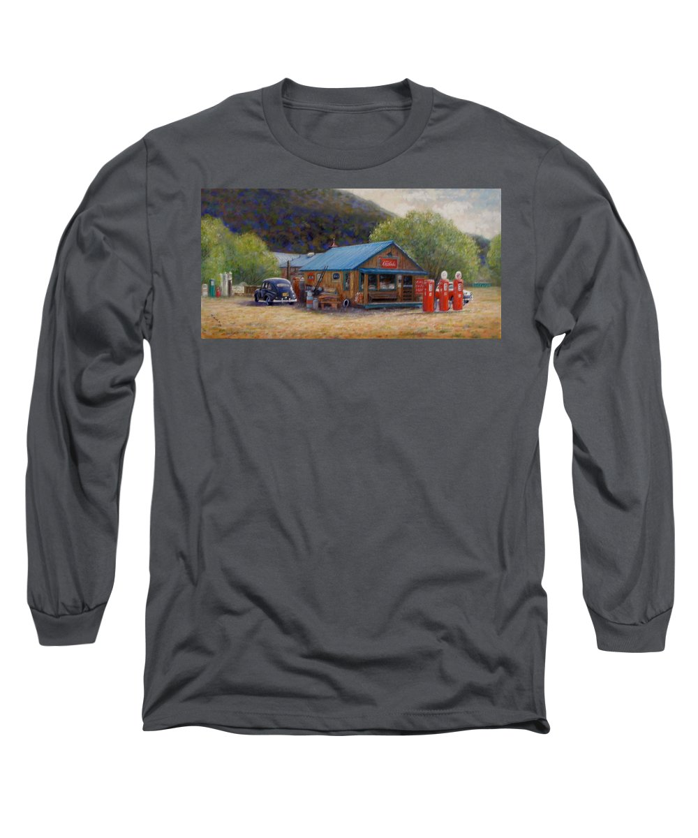 Realism Long Sleeve T-Shirt featuring the painting Below Taos 2 by Donelli DiMaria