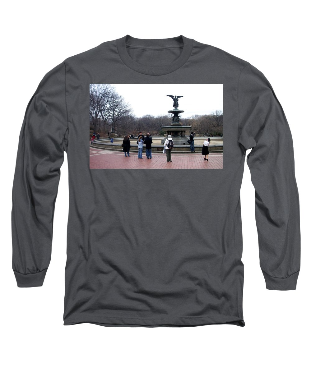 Bethesda Fountain Long Sleeve T-Shirt featuring the photograph Bethesda Fountain by Anita Burgermeister