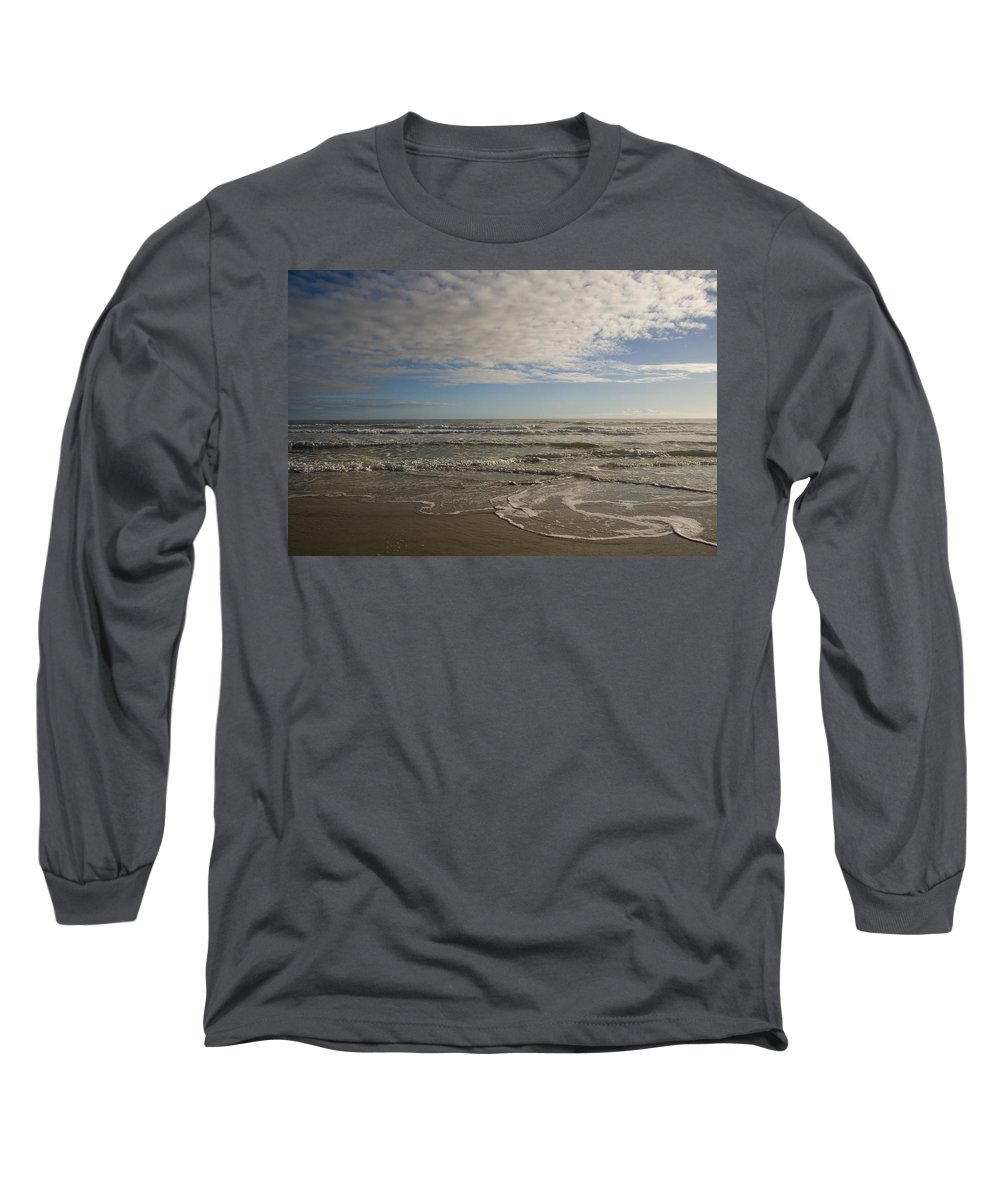 Wave Sand Ocean Beach Sky Water Wave Tide Sun Sunny Vacation Cloud Morning Early Long Sleeve T-Shirt featuring the photograph Between Night And Day by Andrei Shliakhau