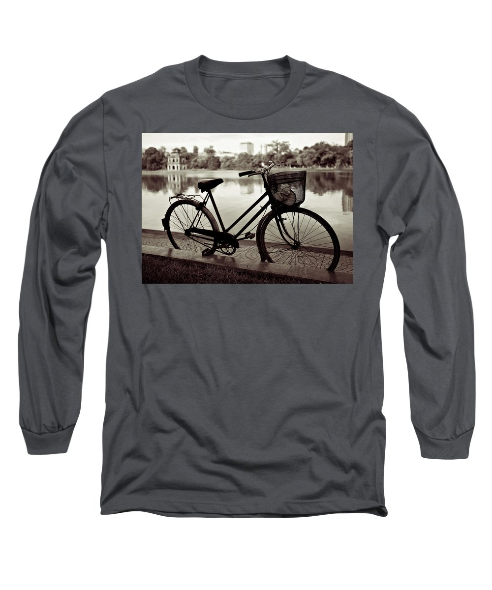 Bicycle Long Sleeve T-Shirt featuring the photograph Bicycle By The Lake by Dave Bowman