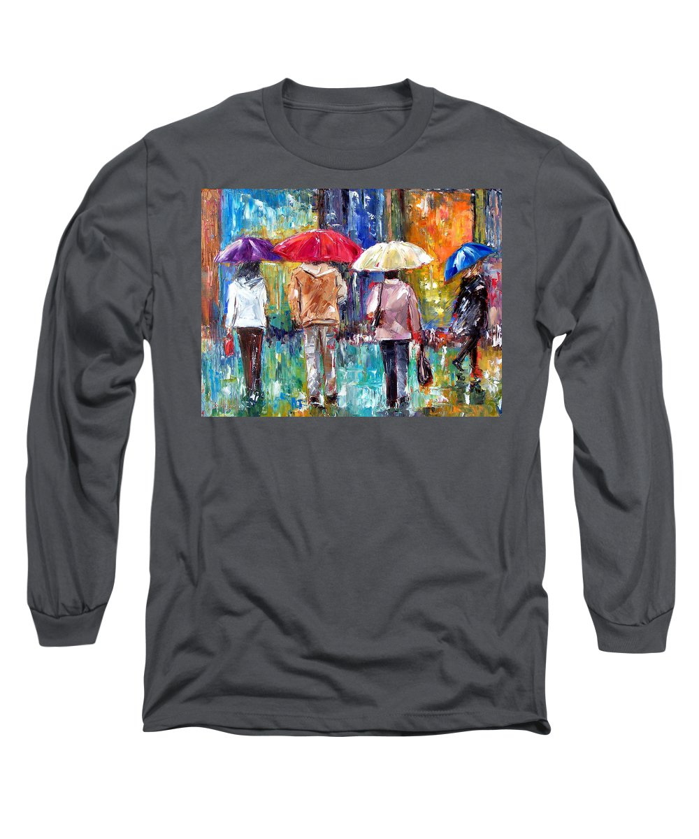 Rain Long Sleeve T-Shirt featuring the painting Big Red Umbrella by Debra Hurd
