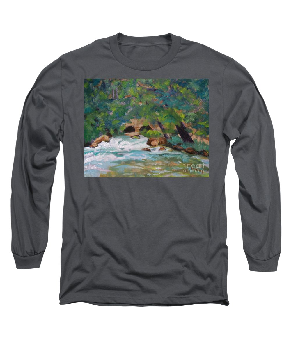 Impressionistic Long Sleeve T-Shirt featuring the painting Big Spring On The Current River by Jan Bennicoff