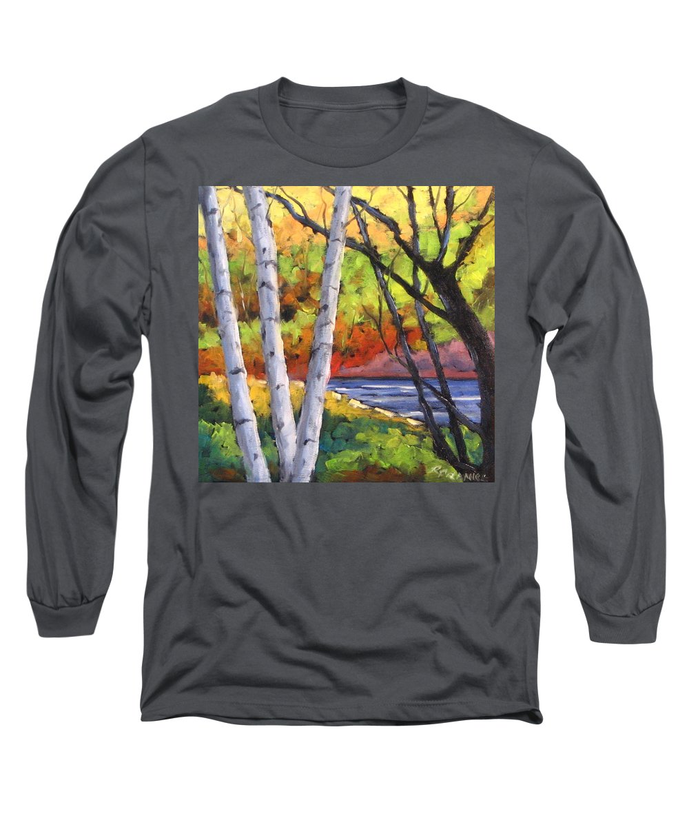 Art Long Sleeve T-Shirt featuring the painting Birches 06 by Richard T Pranke
