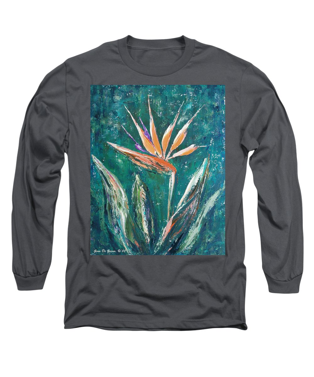 Bird Of Paradise Long Sleeve T-Shirt featuring the painting Bird Of Paradise by Gina De Gorna