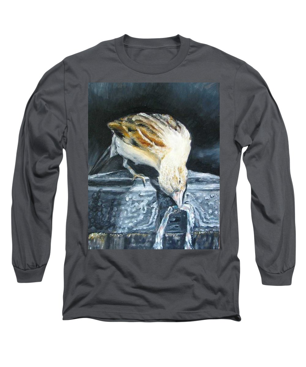 Oil Painting On Canvas Long Sleeve T-Shirt featuring the painting Bird Original Oil Painting by Natalja Picugina