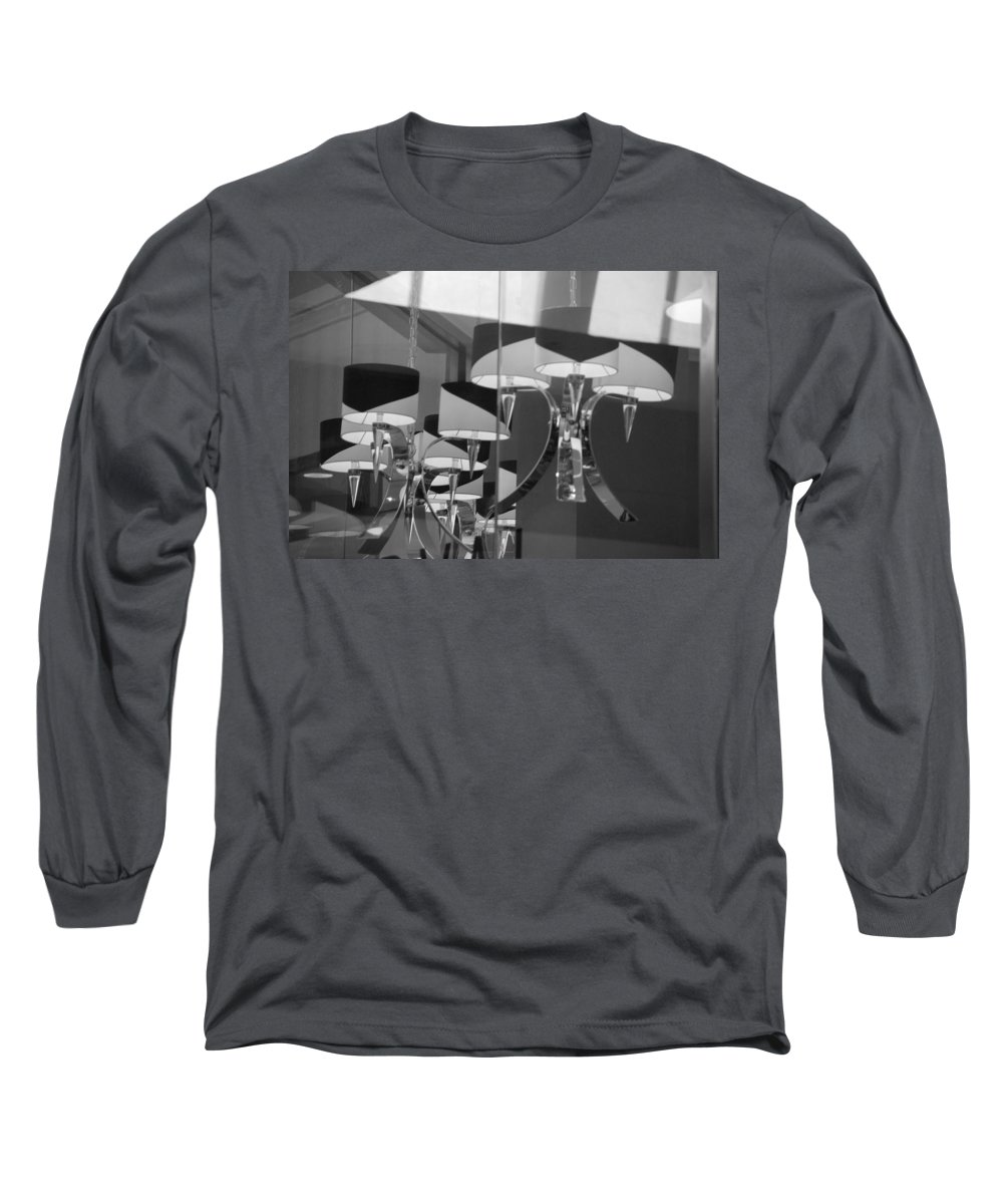 Chandeliers Long Sleeve T-Shirt featuring the photograph Black And White Lights by Rob Hans