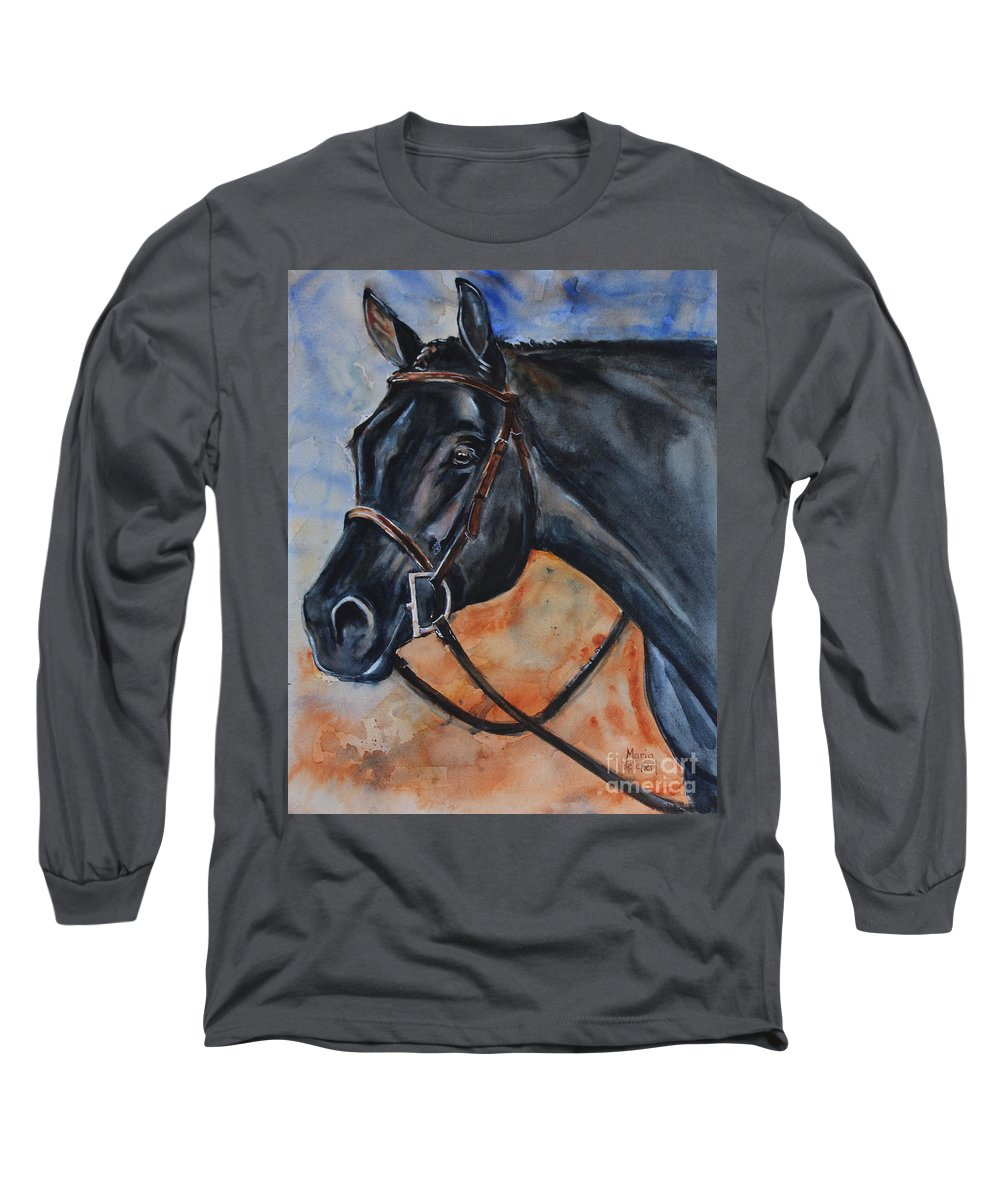 Black Horse Long Sleeve T-Shirt featuring the painting Black Horse Head by Maria Reichert